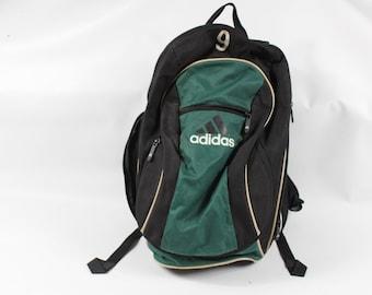 3f8115dda0b6 90s Adidas Big Logo Spell Out Soccer Ball Holder Backpack Book Bag Green  Black  9
