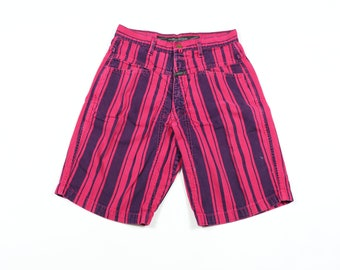 2a89b87747 90s Marithe Francois Girbaud Stone Washed Striped Denim Shorts Mens 29 Pink  Blue, Vintage Girbaud Denim Jean Shorts, Vintage Jean Shorts,