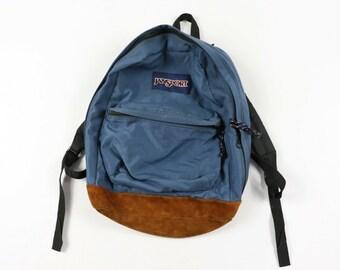 16ca93ec7bad 90s JanSport Spell Out Nylon Suede Leather Bottom Backpack Book Bag Blue