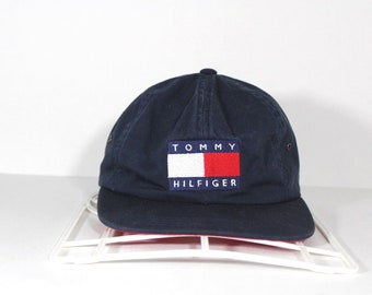 fa21d583b3e 90s Tommy Hilfiger Spell Out Big Flag Logo Nylon Clip Strapback Hat Cap  Blue