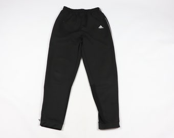 21a4e52158abb1 90s Adidas Spell Out Tapered Leg Soccer Warm Up Pants Black Mens Small