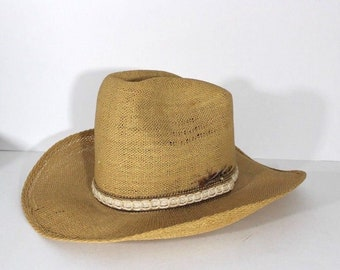 43f876d44d8e9 Vintage Bar 10 Ranch Straw Roped Feather Western Cowboy Hat Mens 7 1 8