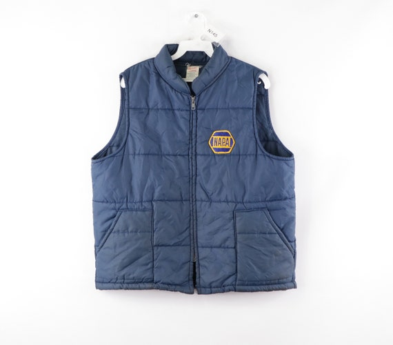 80s NAPA Auto Parts Patch Spell Out Puffer Vest Ja
