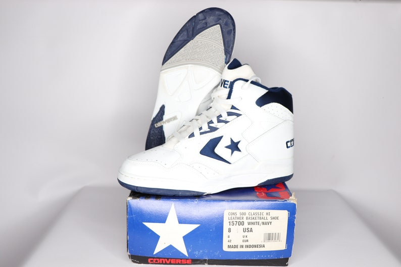 a8f55f974c8e 90s New Converse Cons 500 Classic Hi Leather Basketball Shoes