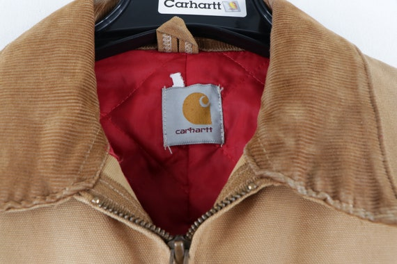 90s Carhartt Spell Out Distressed Faded Corduroy … - image 8