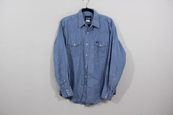 26c4655958 90s WRANGLER Cowboy Western Snap Button Denim Jean Shirt Mens