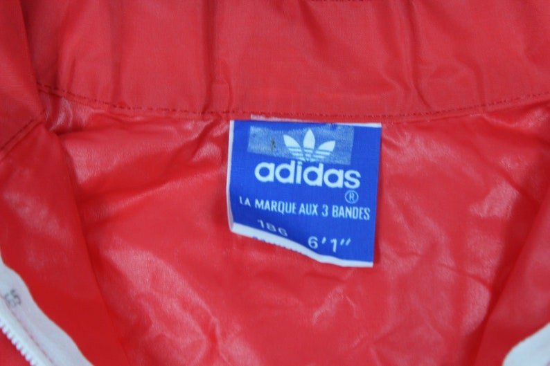 2ca2fdbb6986a 80s New Adidas Soccer Spell Out Full Zip Hooded Windbreaker Jacket Mens  Large Red White, Vintage Adidas Jacket, 80s Adidas Run DMC Jacket