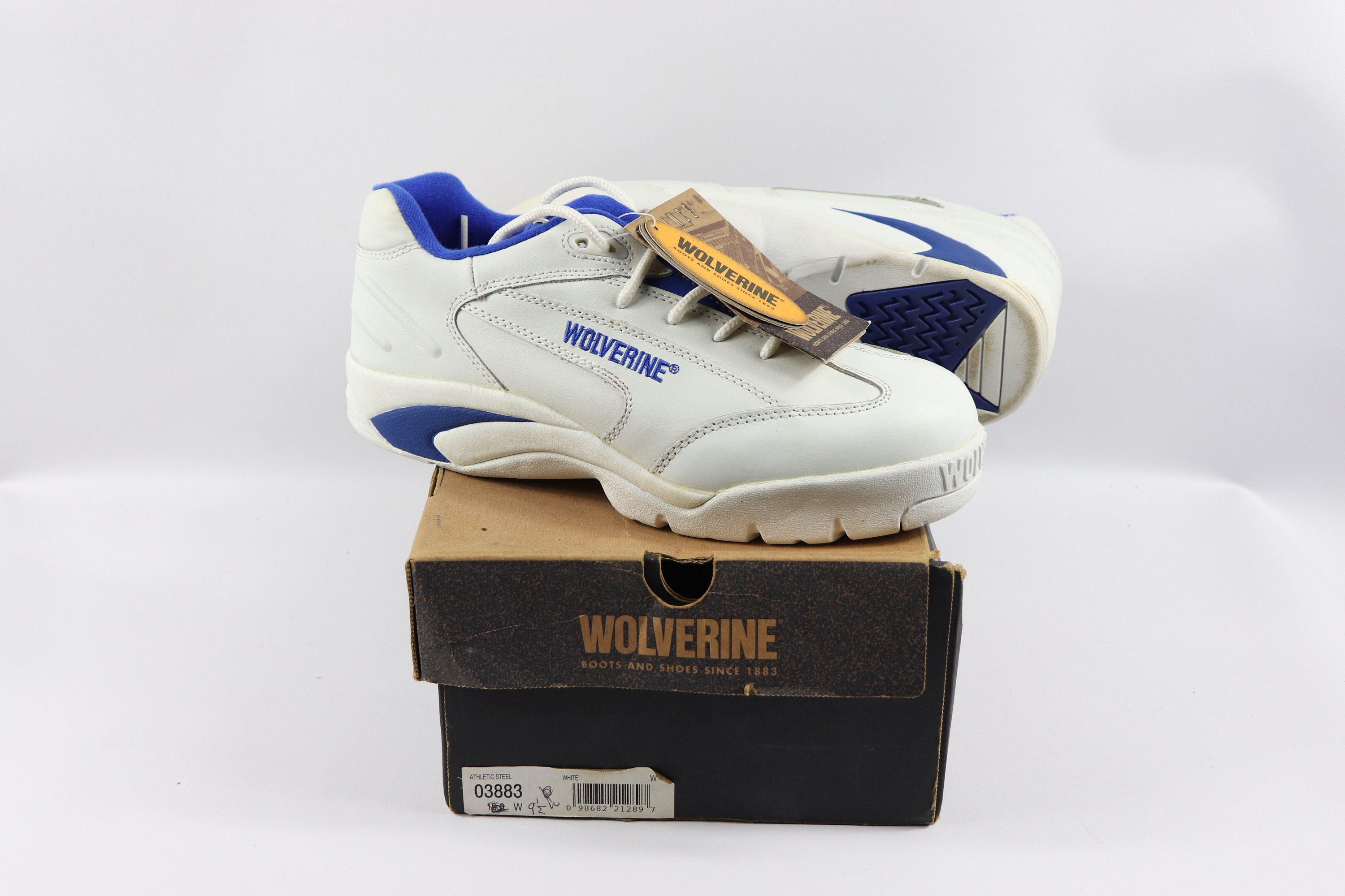 9fdced036e8 90s Vintage New Wolverine Mens 9.5 W Leather Steel Toe Athletic Work Shoes  White, Vintage Wolverine Shoes, 90s Wolverine Shoes, Wolverine
