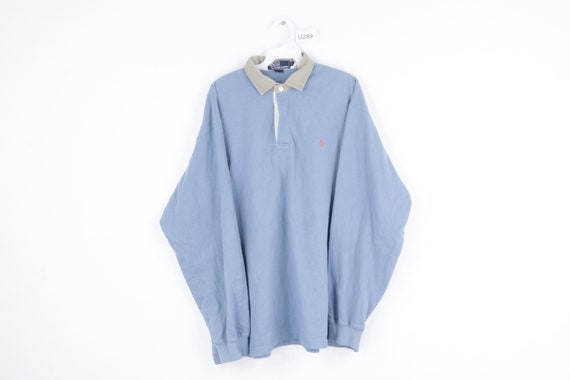 90s Ralph Lauren Distressed Long Sleeve Rugby Polo