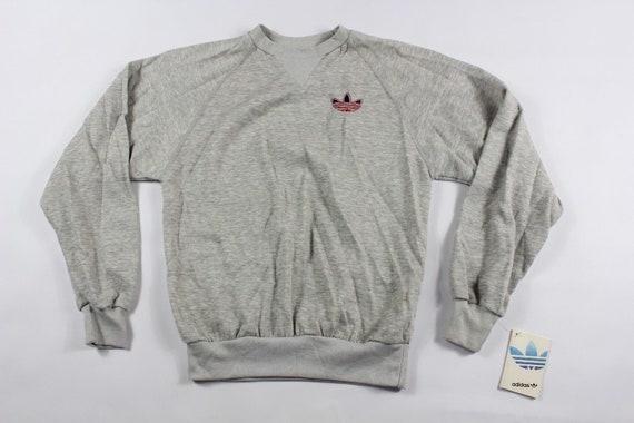 80s Adidas Trefoil Logo Run DMC Crewneck Sweater Gray Mens, Vintage Adidas Sweatshirt, 1980s Adidas Sweater, Mens Crewneck Sweater, Vintage
