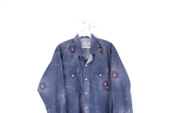 70s Rockabilly Starburst Western Pearl Snap Butto… - image 2