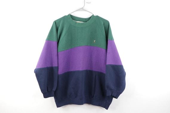 80s Streetwear Faded Long Sleeve Color Block Crewn