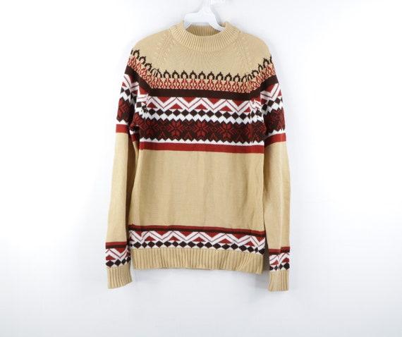 70s Fair Isle Print Acrylic Knit Mock Neck Sweater