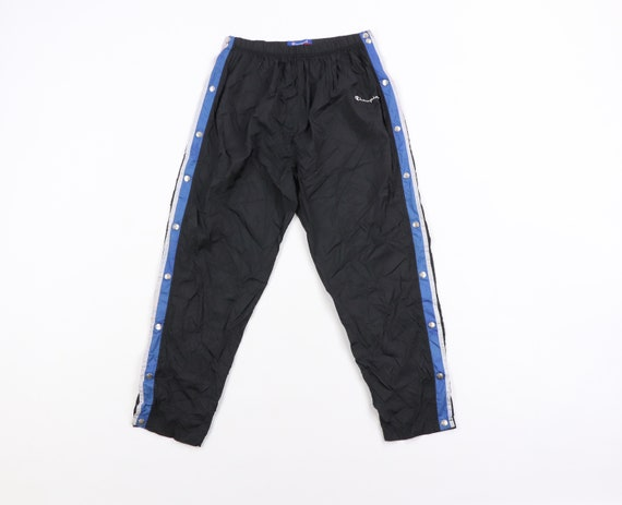 90s Champion Spell Out Striped Tearaway Pants Blac