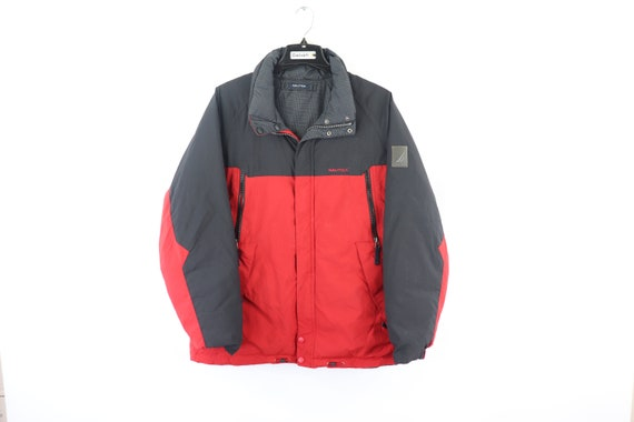 90s Nautica Spell Out Reversible Down Fill Puffer… - image 1