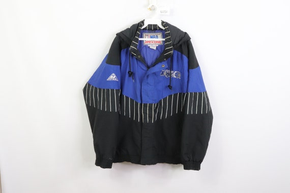 90s Orlando Magic Striped Spell Out Hooded Puffer