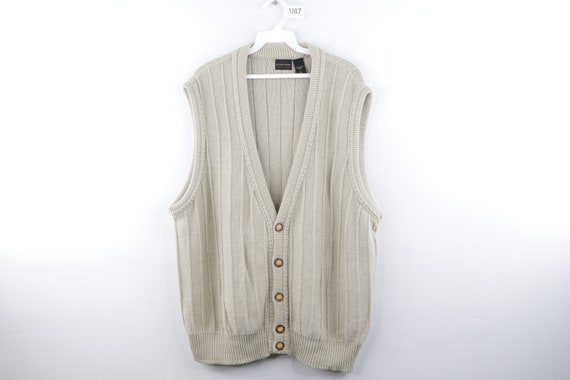90s Streetwear Cable Knit Striped Button Sweater V
