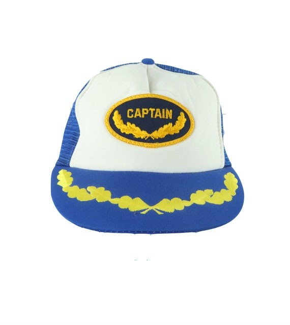 70s Boat Captain Patch Spell Out Stitched Floral T