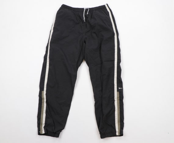 90s Nike Mini Swoosh Logo Lined Striped Joggers Sw
