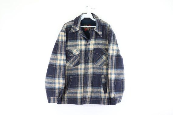 70s Sears Outerwear Fleece Lined Wool Shirt Jacket