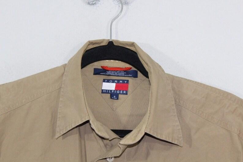 Vintage Tommy Hilfiger Shirt 90s Shirt Mens Button Shirt 90s Tommy Hilfiger Flag Logo Long Sleeve Button Outdoor Shirt Mens Small Tan