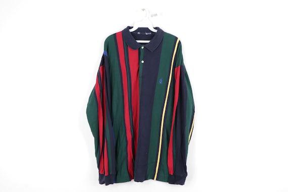 90s Nautica Long Sleeve Color Block Striped Polo R