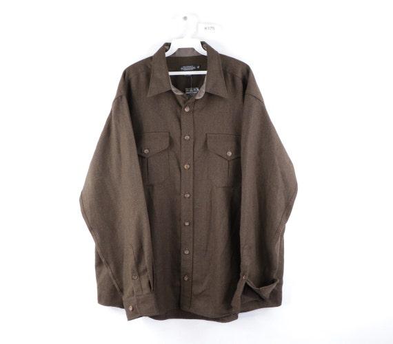 90s J Peterman Company Double Pocket Wool Shirt Ja
