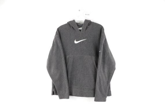 90s Nike Stitched Spell Out Swoosh Fleece Hoodie S