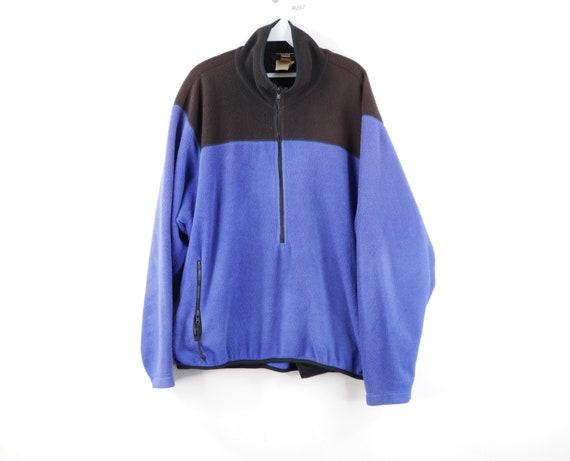 90s Streetwear Color Block Faded Half Zip Fleece P