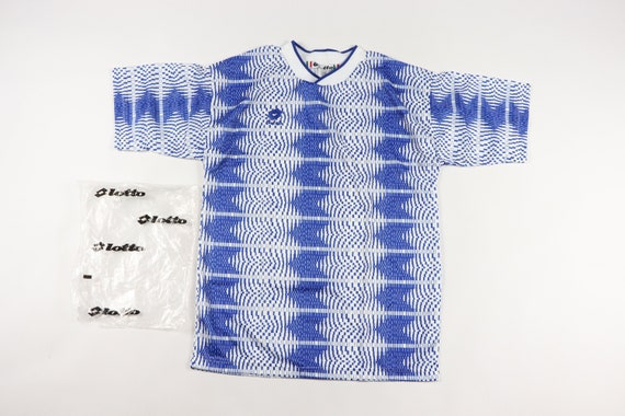 Vintage 90s New Lotto Mens Large Spell Out Striped Splatter Soccer Jersey Blue