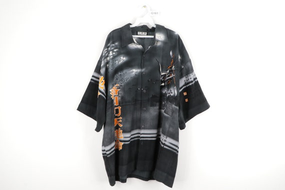 90s Streetwear Anime Print Asian All Over Print B… - image 1