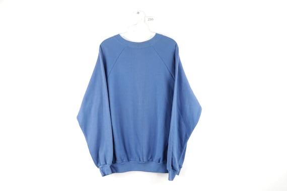 70s Distressed Faded Blank Crewneck Sweatshirt Blu