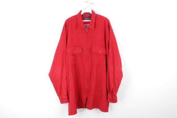 90s Nautica Double Pocket Full Zip Chamois Cloth S