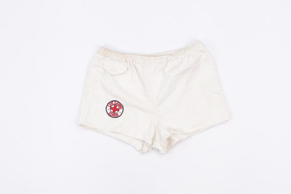 70s Lifeguard Stitched Spell Out Cotton Dad Shorts