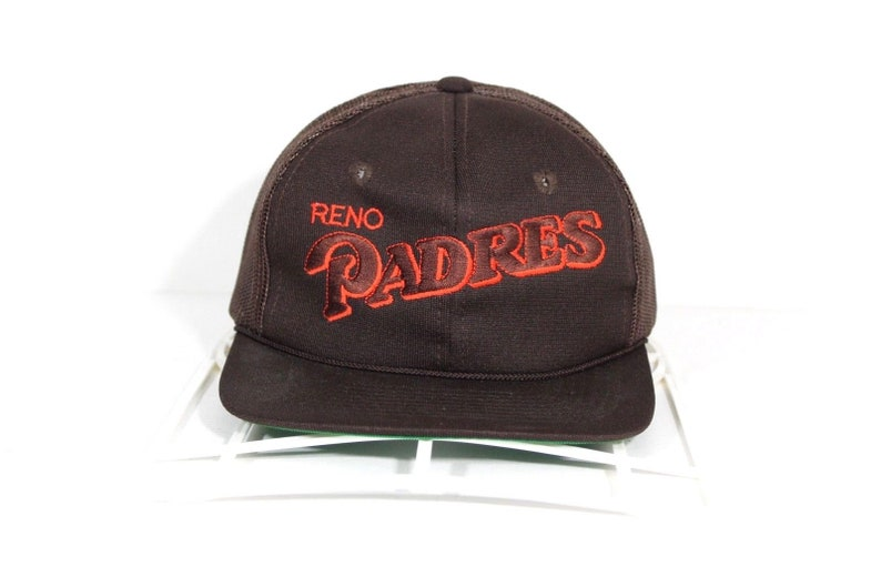 c77ab3e1583 80s Deadstock Reno Padres Minor League Baseball Spell Out Mesh