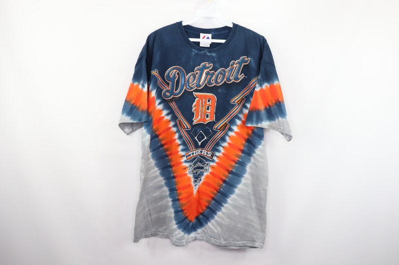 reputable site 519b1 3d53e 90s Majestic Detroit Tigers MLB Baseball Tie Dye Shirt Cotton Mens XL,  Vintage Detroit Tie Dye T Shirt, 90s Tie Dye T Shirt, Detroit Tigers,