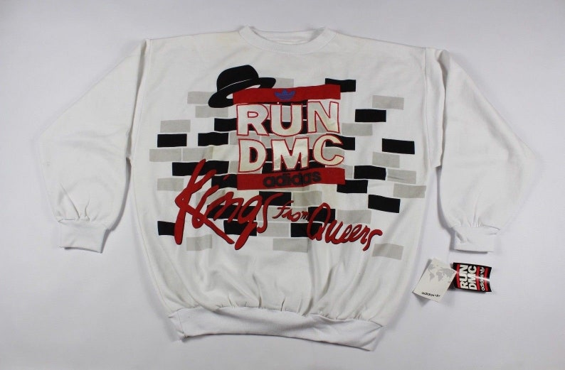 af9e892d0d6d7 80s New Adidas Run DMC Kings From Queens Spell Out Long Sleeve Crewneck  Sweater Mens XL White, Vintage Adidas Run DMC Sweater, 80s Adidas