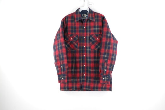 90s Double Pocket Quilt Lined Wool Flannel Shirt J