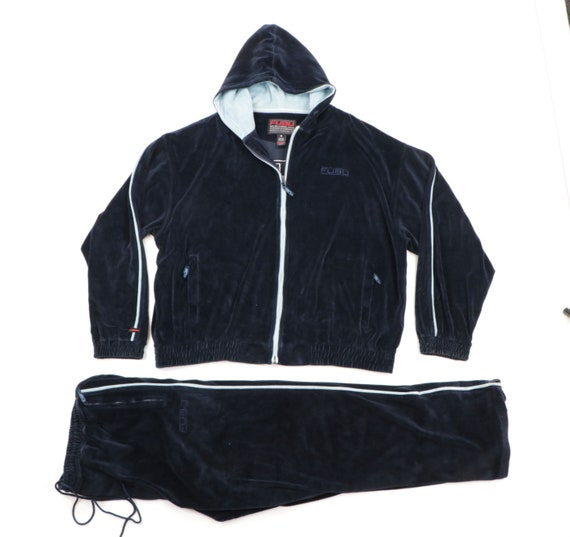 90s FUBU Stitched Spell Out Velour 2 Piece Track S