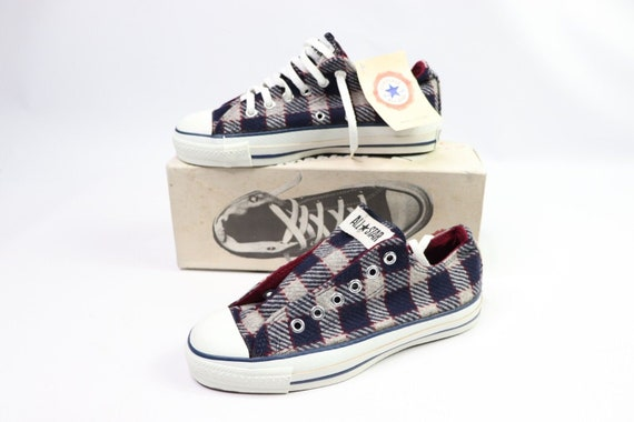 Details about Vtg Plaid Converse USA Made All Star Chuck Taylor Hi Top Red Green Christmas