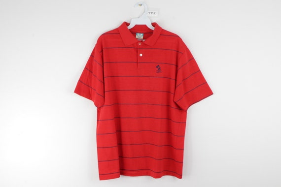 70s Disney Mickey Mouse Stitched Striped Polo Golf
