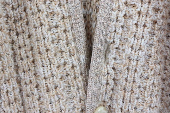50s Hand Knit Cable Cowichan Cardigan Sweater Bei… - image 4