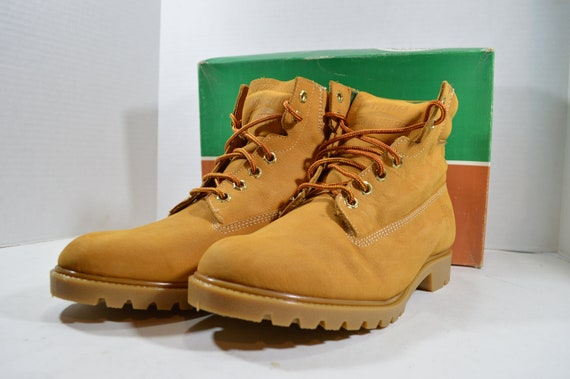 90s Ibex New Mens Nubuck Leather Work Boots Waterproof Insulated Saddle Tan, Vintage Work Boots, Ibex Boots, 90s Boots