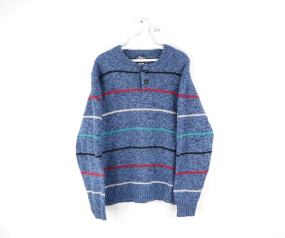 80s Woolrich Multi-Color Striped Wool Button Henle