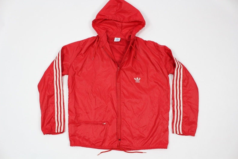 fb83113f0af53 80s New Adidas Soccer Spell Out Full Zip Hooded Windbreaker Jacket Mens  Small Red White, Vintage Adidas Jacket, 80s Adidas Run DMC Jacket