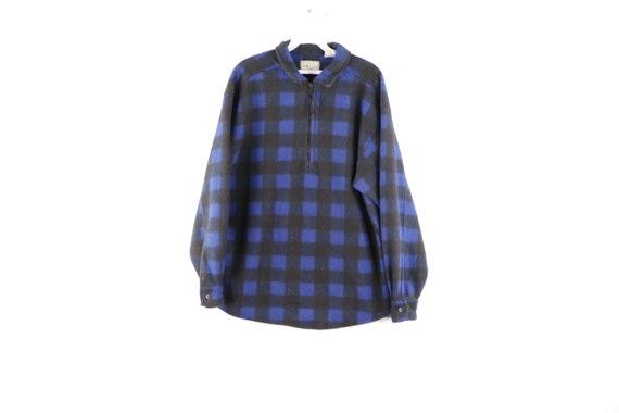 90s Streetwear Buffalo Plaid Half Zip Fleece Pullo
