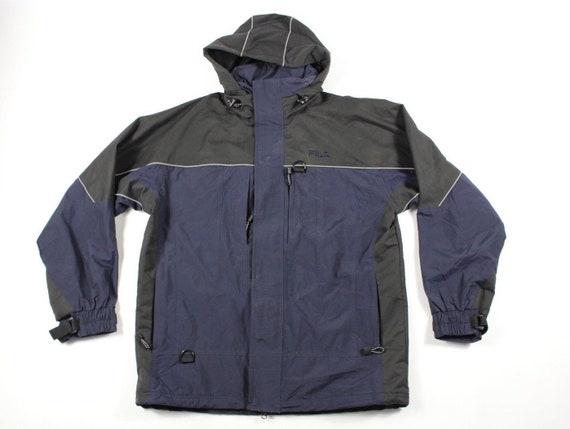 98970ea857063 90s Fila Spell Out Full Zip Outdoor Hooded Jacket Coat Mens Medium Navy  Blue, Vintage Fila Jacket, Bjorn Borg Jacket, Winter Jacket Coat