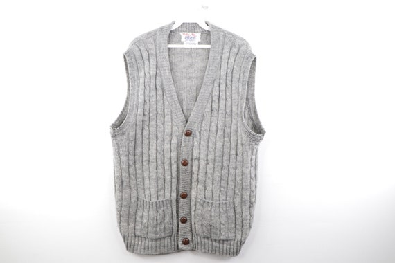 80s Streetwear Cable Knit Cardigan Sweater Vest Gr