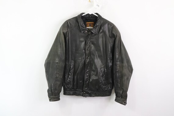 90s IOU Streetwear Distressed Leather Flight Bombe