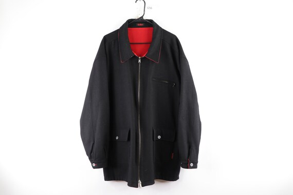 90s Marlboro Spell Out Reversible Wool Jacket Coat